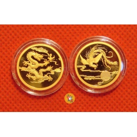 Shanghai mint 2014 Dragon and Phoenix 1/10oz*2 gold medal