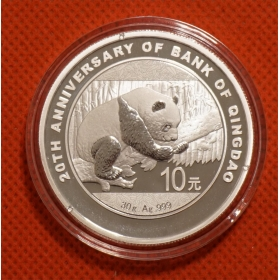 2016 Qingdao Bank 20th Panda 30g silver China coin