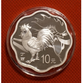 2017 Lunar rooster plum flower 30g silver Proof China coin