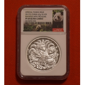 Shenyang Mint 2017 Lunar Panda rooster 62g Silver Coin-ngc69