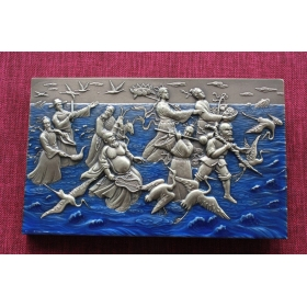 The 8 Immortals Crossing the Sea 118 mm large size brass medal