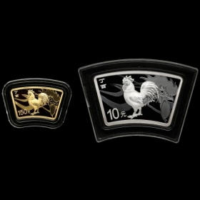 2017 Zodiac rooster scalloped gold&silver coins