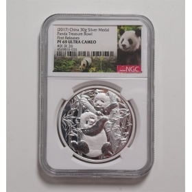 Shanghai XJS 2017 panda Happy China Coin 30g Silver Medal NGC 69