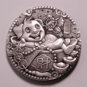 Shenyang mint 2019 Lunar pig 80g hand carved silver China Medal