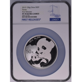 CGCI 2019 panda 150g silver Proof China coin NGC70