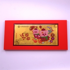 2019 CCB Lunar Pig 1g gold banknote