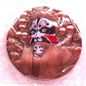 2019 Chinese Peking opera face Zhang Fei 80mm red copper medal