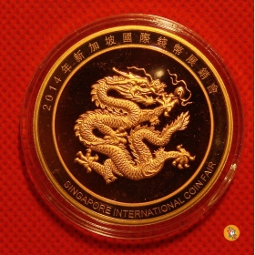 Shanghai mint 2014 Singapore Coin expo dragon China medal