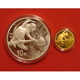 2016 Lunar Monkey character circular gold&silver china coin