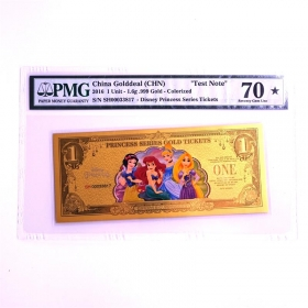 2016 Disney Princess series 1.6g color gold banknote PMG70